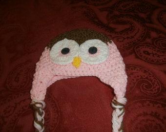 crochet girls owl hat with braids, baby, infant, newborn