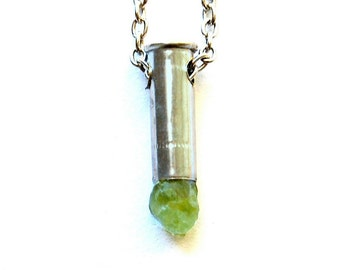 OBERON raw peridot mini bullet crystal necklace