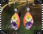 Earrings - Oval shape (Flowers on coral pink) by Veronica Jeong