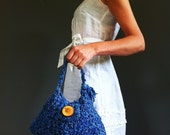 Kings Blue Banana Yarn Crochet Evening Purse, Lined in Indian silk. Unique Boho Purse, Handmade In Scotland.