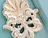 Old World -Creamy White Wall Hook-Scroll Seashell -Cast Iron-French Country-Bath Hook-Distressed-Vintage-Beach Decor-Spring Home Decor
