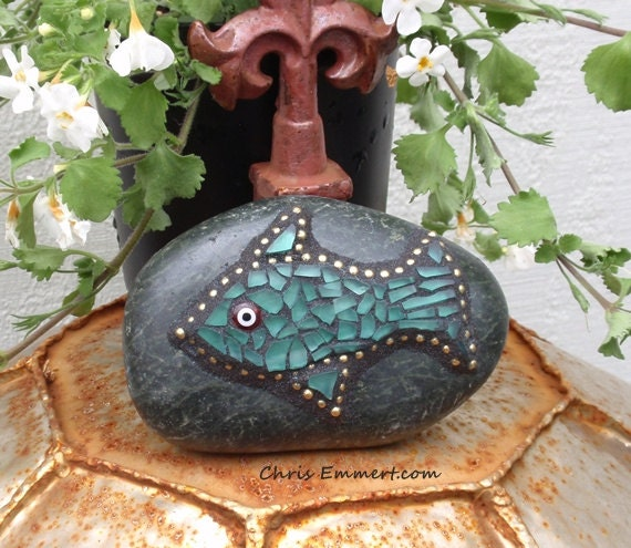 Gold  and Teal Fish - Mosaic Rock Garden Stone / Paperweight