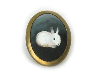 Fine Art Ring, Custom, Painting Ring, 14kt Gold Ring, Rabbit, Dog, Cat Portrait Ring, OOAK, Handmade Gold Ring