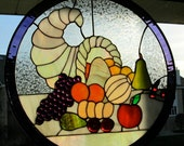 Stained Glass Cornucopia 20 inches round Very colorful and Beautiful