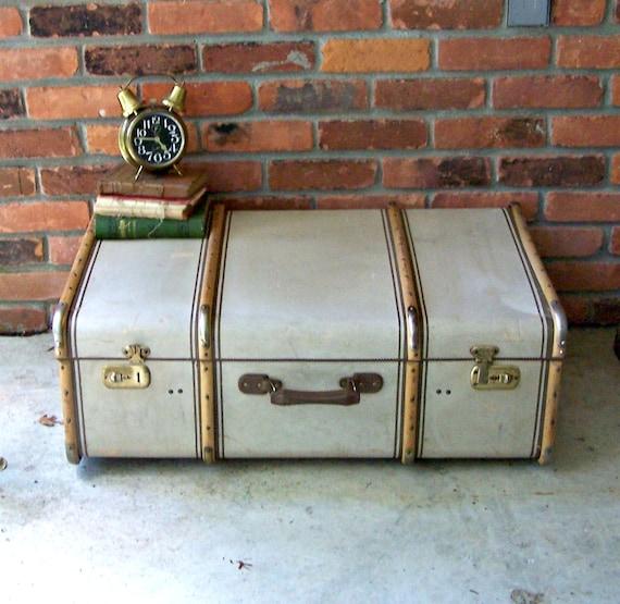 Vintage Tweed Steamer Trunk with Bentwood and Metal Corners