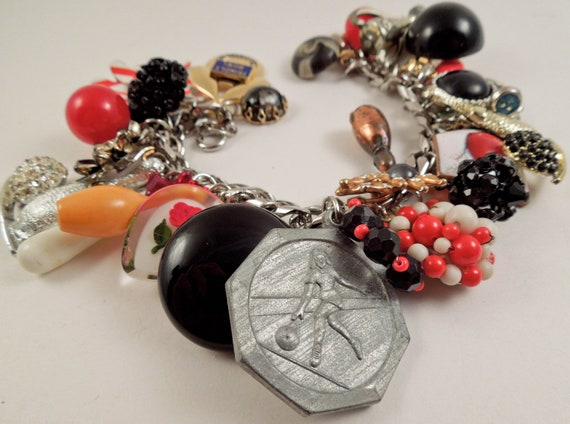 Bowling League Repurposed Vintage Jewelry Charm Bracelet One of a Kind OOAK