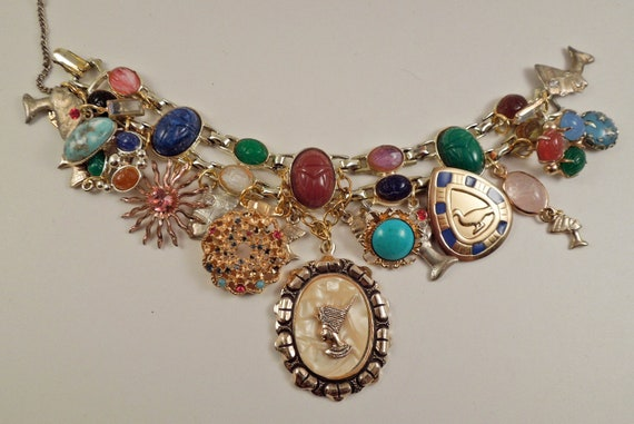 Nefertiti Repurposed Vintage Jewelry Charm Bracelet One of a Kind OOAK