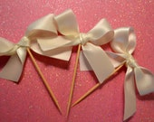 Food Picks Hors D'ouevres off-white cream bows, ribbon Set of 12 Food Decoration, tooth picks wedding bridal shower party