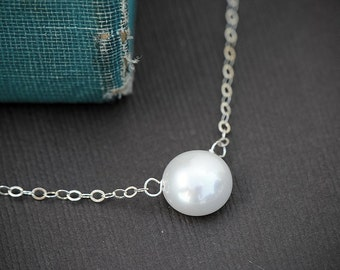 Simple Pearl Necklace, Button Freshwater Pearl Pendant  Sterling Silver Necklace, Pearl Jewelry, Simple Every Day Classic