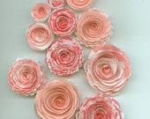 Pink Pattern Handmade Spiral Paper Rose Flowers