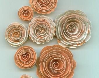 Peachy Orange with Aqua Stripes Handmade Spiral Paper Flowers