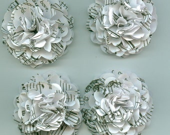 White Music Sheet Carnation Paper Flowers for Weddings, Bouquets, Events and Crafts