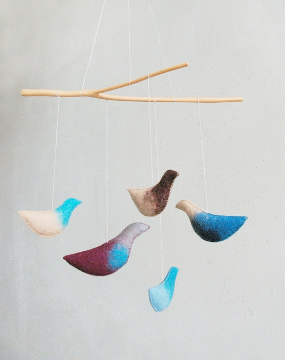 Baby  mobile - bird mobile - DREAMS - baby gift - pure eco - made to order