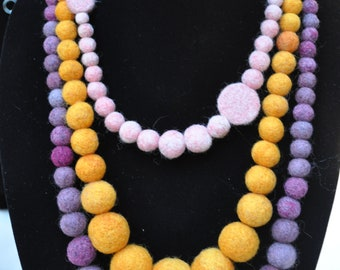 Orange Felt Balls Necklace