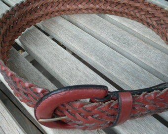 Chico's Wide Woven Leather Belt Womens M/L