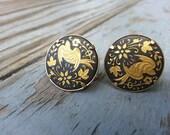 Floral Bird Demascene Clip Earrings - Vintage