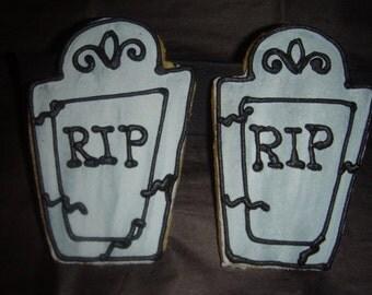 1 DZ Halloween Tombstone Sugar Cookies