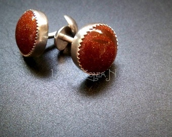 Sterling Silver Goldstone double-ended push through Cufflinks - Father's Day gift idea - Gemstone accessories by Lamazonian