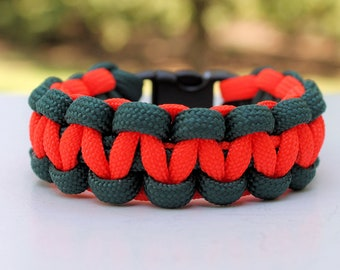University of Miami Hurricane Inspired 550 Paracord Survival Strap Bracelet Anklet with Contoured Buckle