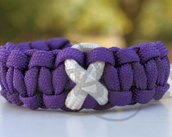 Bone Cancer Disease Osteoporosis White Awareness Ribbon 550 Paracord Survival Strap Bracelet Anklet w/ Contoured Side Release Buckle