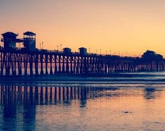 Ocean Photography Beach Photography Landscape Photography Nautical wall art Orange sunset photography Pier  Fine Art Photography Print
