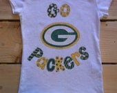 Girls Handpainted Green Bay Packers Football Shirt.