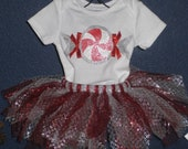 Girls Christmas Peppermint Tutu Outfit
