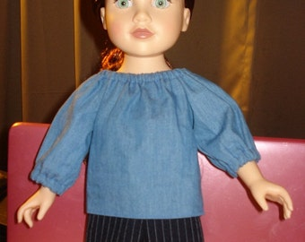 Handmade blue Denim peasant top and black pin striped short set for 18 inch Dolls - ag87