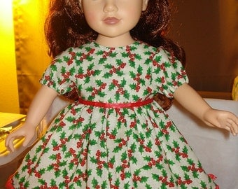 Festive Holiday dress in red & green holly print for 18 inch Dolls - ag104