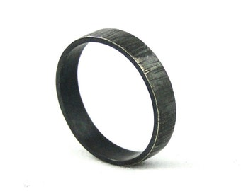 Black Sterling Silver Ring Band for Men or Women - Bark Textured - Wide Band Wedding Band or Everyday Ring Made in your size