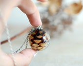 Resin jewelry ball necklace, pine cone necklace autumn fall jewelry/nature necklace, gift for a woman, gift under 45, woodland necklace