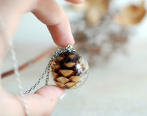 Resin jewelry ball sphere necklace, pinecone necklace autumn fall jewelry/nature necklace, gift for a woman, gift under 45
