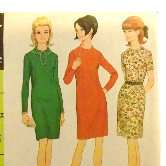 Vintage 1960s Dress Pattern McCalls 8957 Size 14 Bust 34