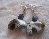 Silver Leaf Jasper Bear Earrings