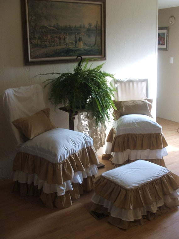 items similar to shabby chic chair slipcover on etsy. Black Bedroom Furniture Sets. Home Design Ideas