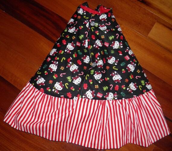 Hello Kitty Christmas Tree Skirt Black Red White Stripe