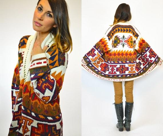 Bohemian Earth Angel Knitted Navajo Aztec Cardigan Sweater