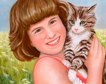 Little girl and her kitten art print, kitty, cat giclee print