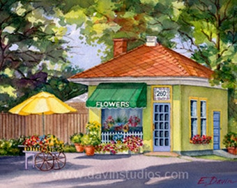 Flower Shop Painting - Original Watercolor painting of a flower shop in Annapolis, Maryland