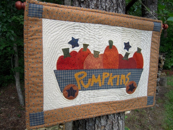 Quilted Wall Hanging, Quilt,Country Decor, Primitive Decor, Autumn, Fall Wall hanging, Primitive Pumpkin Wagon