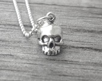 Sterling Silver Skull Necklace, Skull Pendant, Skull Jewelry, Skeleton Necklace, Charm Necklace, Sterling Silver Jewelry, Halloween Jewelry
