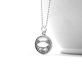 Cancer Necklace, Cancer Jewelry, Zodiac Jewelry, Cancer Pendant, Charm Necklace,  Zodiac Necklace, Sterling Silver Jewelry, Cancer Charm