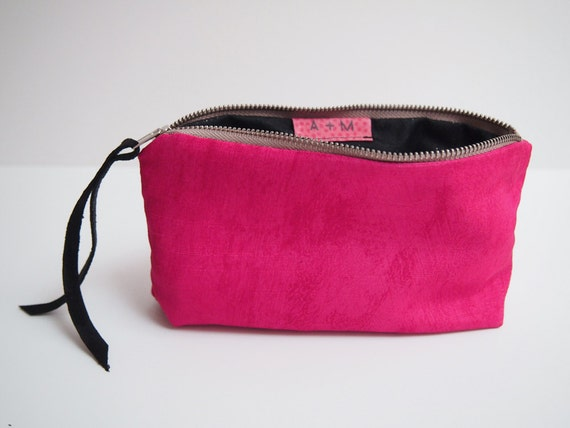 Back to school pencil case neon pink zipper pouch with black with glitter cotton llining