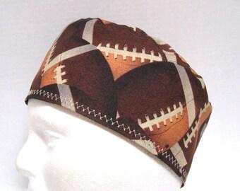 Mens Scrub Hat, Surgical Scrub Cap or Skull Cap with Footballs
