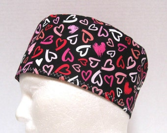 Valentine Mens Scrub Cap or Operating Room Cap Tossed Hearts on Black