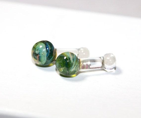 Green Ghost Lampwork Ear Shorty Plugs Set 8 Gauge