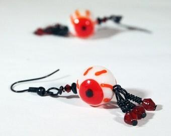 Zombie Valentine EyeBalls //  Bloodshot Eyeball Chandelier Earrings // Lamp Work Bead // Zombie Earrings