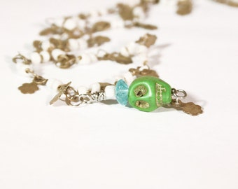 Dainty Upcycled Skull Necklace // Day of the Dead Skull Necklace OOAK // sugar skull jewelry // Valentine Gift