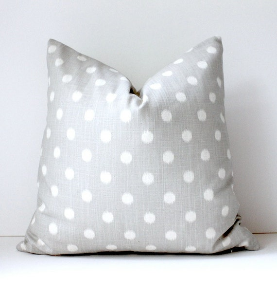Smoke Grey cream polka dots Decorative Designer Pillow Cover 18x18 Accent Cushion ikat light gray smoke charcoal spots preppy circles Fall