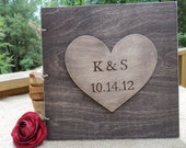 Huge Personalized Rustic Wood Guest Book - Photo Book - with Huge Personalized Heart